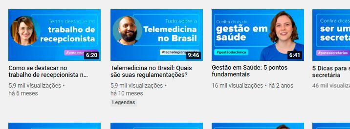 Thumbnails de um canal médico no Youtube
