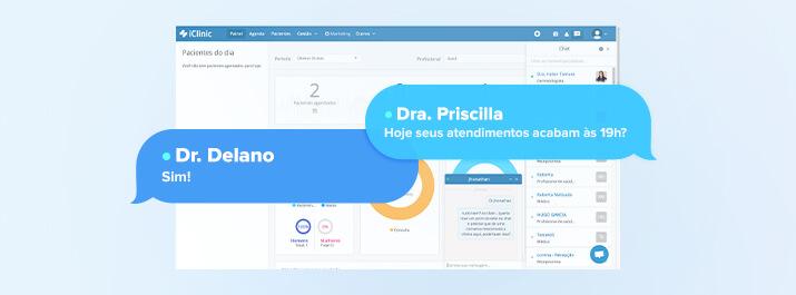 Chat interno do iClinic o melhor da tecnologia